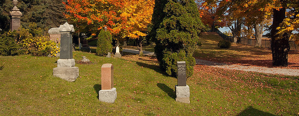 photograph of a cemetery lawn